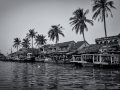 Hoi An Market by the River South Vietnam B&W