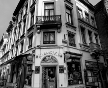 Old Cafe in Rue De Chapeliers Brussels Belgium