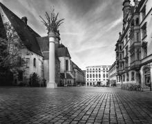 Urban Street Scene City Square Leipzig Germany