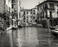 Old Canal in Venice B&W