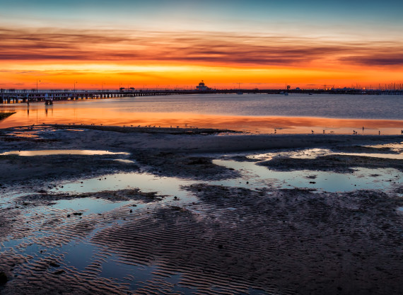 St Kilda Beach and Old Pier at Sunset Panorama