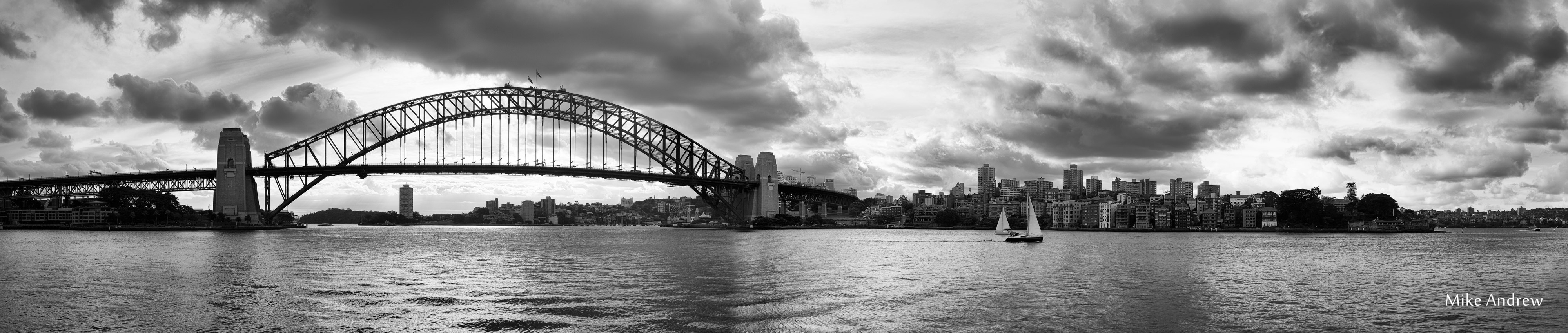 Sydney panorama in black and white