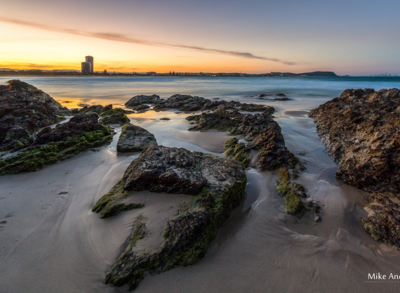 Rocks at Sunset Currumbin Beach Gold Coast
