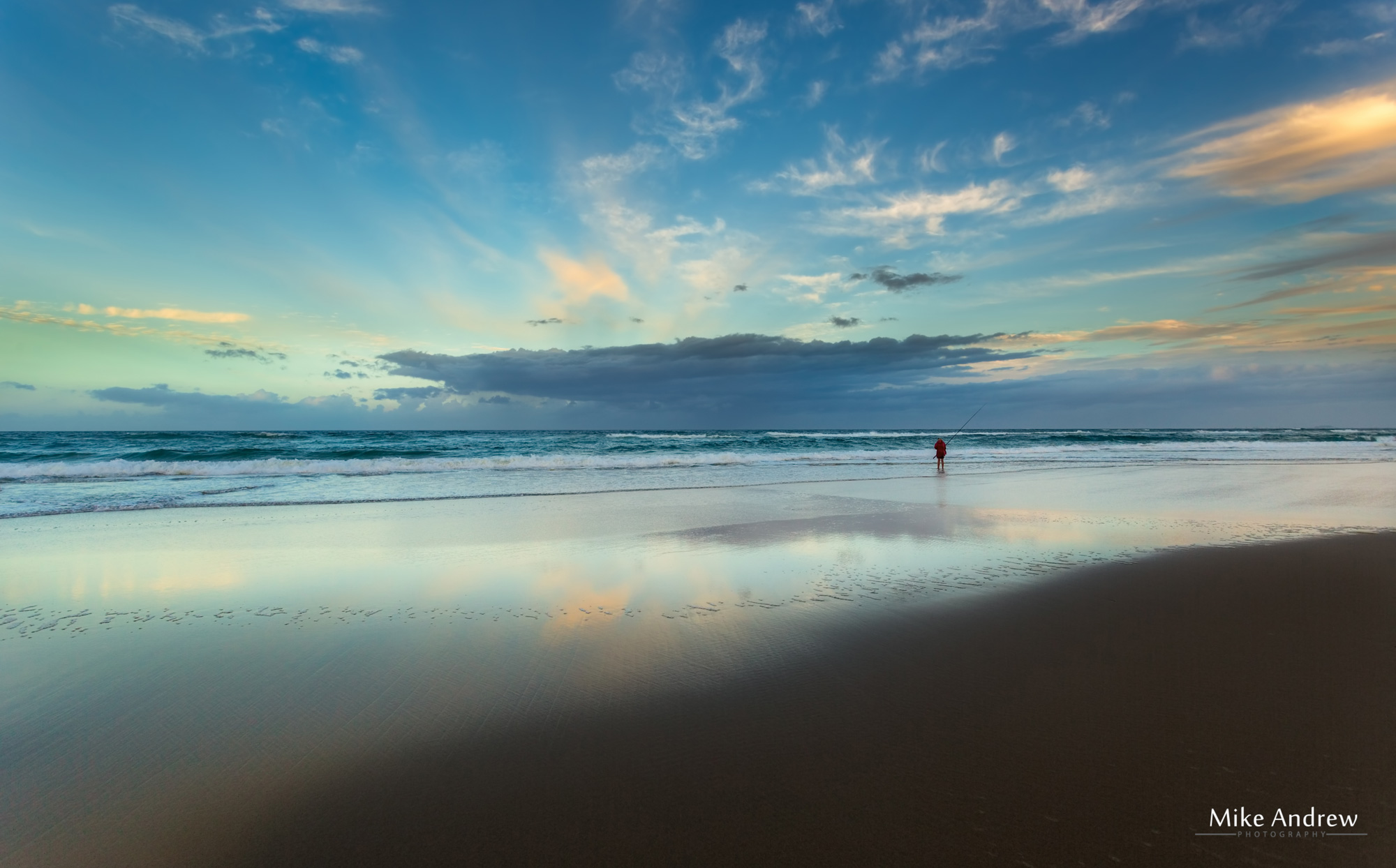 Surf Fishing at Surfers Paradise Beach on the Gold Coast- Mike Andrew Photography
