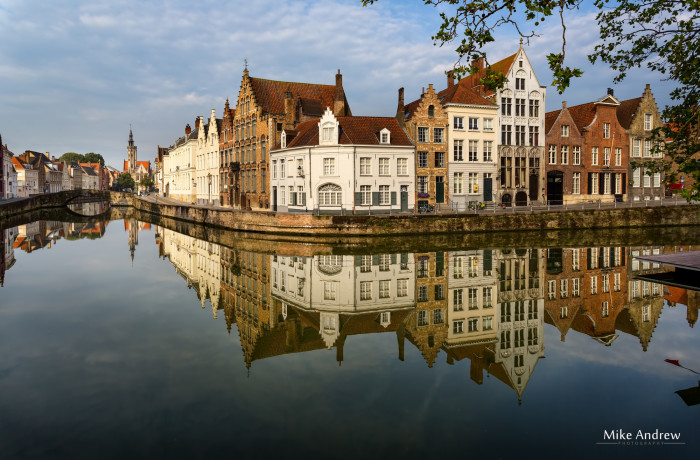 Canal and Reflections Bruges Belgium