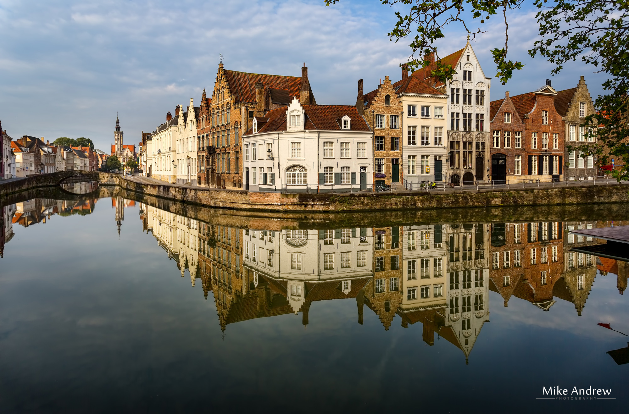Canal and buildings in Bruges Belgium