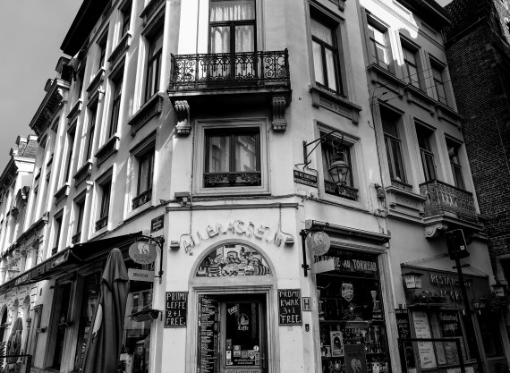 Old Cafe in Rue De Chapeliers Brussels Belgium